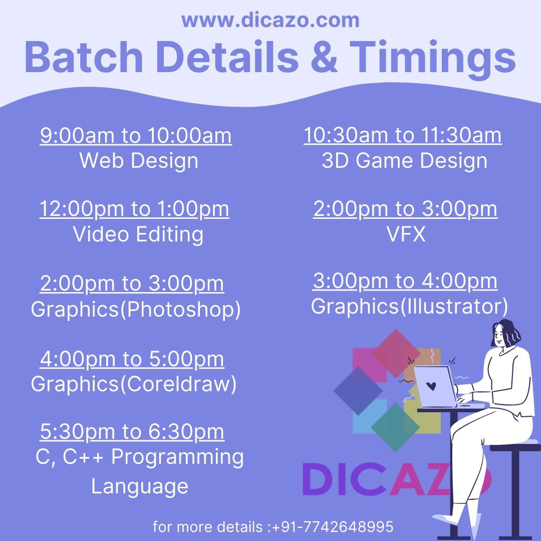 dicazo online classes timings